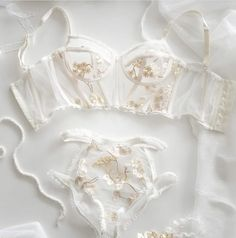 11 a heavenly sheer bridal lingerie set with gold floral lace appliques looks ethereal - Weddingomania Lingerie Bonita, Jolie Lingerie, Lingerie Outfits, Sheer Lingerie, Pretty Lingerie, Beautiful Lingerie, Lingerie Sleepwear, Lingerie Set, Nightwear