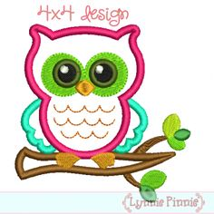 Free Jef Embroidery Designs | Embroidery Designs /Owl on Branch Applique 4x4 5x7 6x10 7x11
