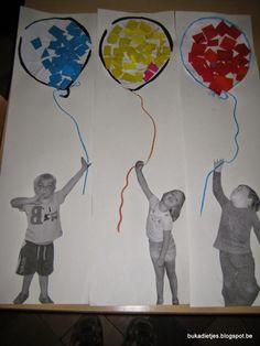 Kindjes die naar school gaan Art For Kids, Crafts For Kids, Work Inspiration, Paper Plates, Balloons, Preschool, Cool Stuff, Birthday, Flowers