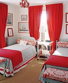 Red guest room... a little bold but I like it!