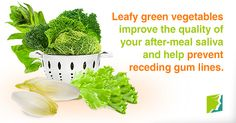 Leafy green vegetables improve the quality of your after-meal saliva and help prevent receding gum lines.