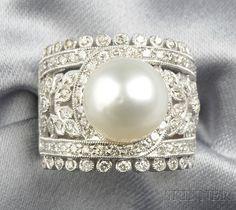 Diamond Wedding Rings : White Gold Cultured Pearl and Diamond Ring Pearl And Diamond Ring, Pearl And Lace, Pearl Ring, Pearl Jewelry, Jewelry Box, Jewelry Rings, Vintage Jewelry, Jewelry Accessories, Fine Jewelry