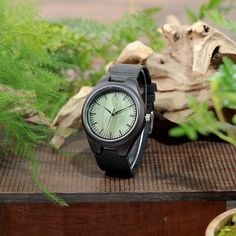 Ebony Wood Watches With Green Wood Face Real Leather Band - Designer Quartz Watch in Wooden Box