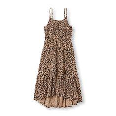 Girls Sleeveless Leopard Print Hi-Low Maxi Tank Dress