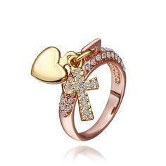 Romatic любовь в форме сердца креста кольца 18 К настоящее желтый розового золота ювелирные женщины Girlfrends знакомства кольца YPR036-1