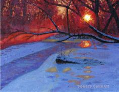 ORIGINAL OIL PAINTING, SNOWY WINTER SUNSET IN THE WOODS, Listed Artist NR! | eBay