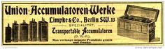 Original-Werbung/ Anzeige 1903 - UNION - AKKUMULATOREN - WERKE / LIMPKE & CO. BERLIN - ca.150 x 40 mm