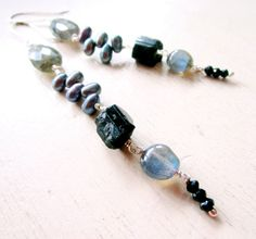 "Silver Fire and Black Nexus Gemstone Earrings, Labradorite, Tourmaline, Pearls, Spinel, Sterling Silver - catROCKS - Elegant - Etsy Jewelry These hang 4"" long."