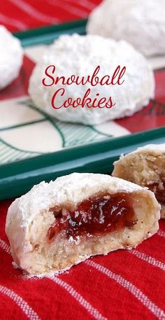 holiday baking Christmas Cookies: J Christmas Cookies: Jam-Filled Snowball Chirstmas Cookies Cookie Desserts, Holiday Desserts, Holiday Recipes, Dessert Recipes, Dinner Recipes, Christmas Cookie Recipes, Holiday Baking Ideas Christmas, Holiday Foods, Dinner Menu