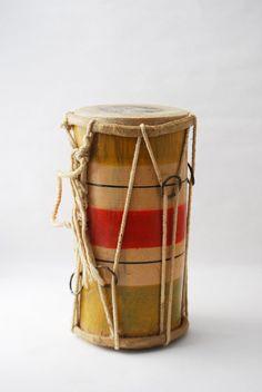 Vintage Primitive Drum - Double Ended Bongo, Tribal Drums, Bamboo Bongo, Children's Instrument, Vintage Instrument