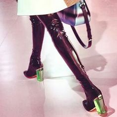 Dior SS2015 deep purple (maroon) latex thigh boots