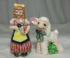Salt-and-Pepper-Shakers-Lusterware-MARY-HAD-A-LITTLE-LAMB-Nursery-Rhyme