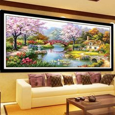 Cherry Scenery Counted Stamped Cross Stitch ki for Living Room Decoration Wall
