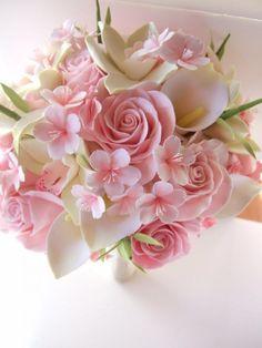 25 Beautiful Sakura Flower Bouquet for Wedding - Easy flowers Cherry Blossom Bouquet, Cherry Blossom Wedding, Cherry Blossoms, Bridal Flowers, Flower Bouquet Wedding, Floral Wedding, Lily Bouquet, Clay Flowers, Wedding Centerpieces
