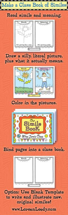 Make a Class Book of Similes! Link to blog post with ideas for using these printable pages and Blank Template.