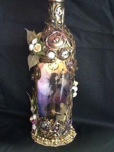 Fairy in a bottle led light, night light, magical , special gift ooak, handmade. Bottle Lights, Night Light, Special Gifts, Fairy, Led, Best Deals, Glass, Crafts, Handmade