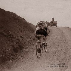 1921 Col du Galibier. Note the fixed gear. All TdF's were restricted thus in the early years.