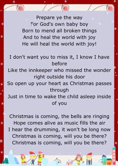"""December 9, 2015 of Jesus Birthday Celebration"""" some of the lyrics of """"Christmas Is Coming"""" by Jason Gray"""