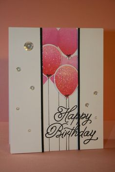 Clever use of foam tape shows dimension on the balloons and the outside panels. Clear Wink of Stella pen was used to make the balloons shiny. DIY birthday card