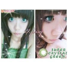 The natural color of Super Crystal Lenses is Greenish Grey and a hint of yellow towards the iris!Really love them because of its dolly effect they give to my cute eyes ^_^ .