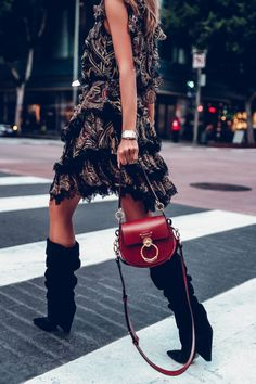 Favorite pieces lately combined into an I'm obsessed with - bold print Etro dress, suede slouchy black Saint Laurent boots, and Chloe Tess bag in the most perfect shade for fall Fashion Mode, Womens Fashion, Fashion Trends, Style Fashion, Boho Fashion Over 40, Viva Luxury, Slouchy Boots, Mein Style, Valentine's Day Outfit