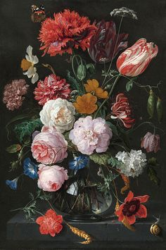 Dutch Oil Painting Dark Brown Backgrond Big Flowers Peony Rose Wallpaper, Large Flowers Floral Mural for Wall Porch Corridor Wallpaper Art Floral, Motif Floral, Rose Wallpaper, Photo Wallpaper, New Shape, Dutch Still Life, Large Flowers, Stretched Canvas Prints, Flower Vases