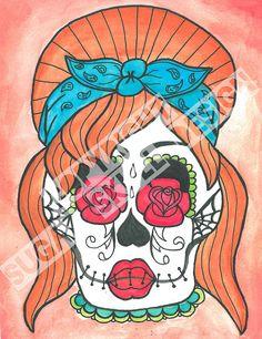 Sugar Skull Rockabilly Girl Print - 8x10