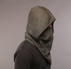 Futuristic clothing / Wool hooded scarf / Men scarf by snowstore