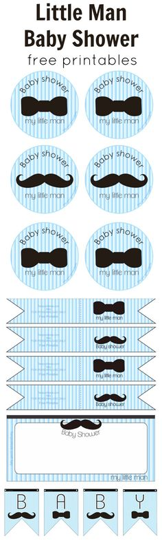 Adorable boy baby shower set | Little Man Baby Shower Free Printables
