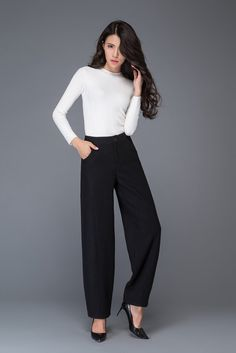 """Black wool blend pants The front features zipped details Two side pockets    Shop sizing chart FYI ( made according to US sizing. actual body figures, NOT laying flat clothes measurements)  SIZE (US 0, UK 4, Italian 34, French 32, German 30, Japan 1) bust: fits bust around 32.5"""" / 82.5cm Waist: fits waist around 25"""" / 64cm Hips: fits hips around 35"""" / 89cm For overall height: 52 / 157cm around  SIZE (US 2, UK 6, Italian 36, French 34, German 32,) bust: fits bust around 33...."""