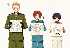 Germany, Italy and Japan - Hetalia, making the Axis Powers adorable...