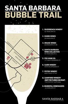 "Santa Barbara champagne trail: With a nickname like ""The American Riviera®"" it's no surprise that Santa Barbara is a place that pairs well with a glass of something sparkling in hand. Visit Santa Barbara, Santa Barbara California, California Coast, California Dreamin', Santa Barbara Night Life, Northern California, Central California, Santa Barbara Wineries, Santa Barbara Wine Tasting"