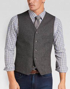 Joseph Abboud Charcoal Herringbone Modern Fit Vest - Mens Tailored Vests, Vests - Men's Wearhouse