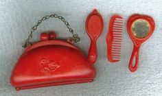 Vintage Red Celluloid Child's Purse With Accessories