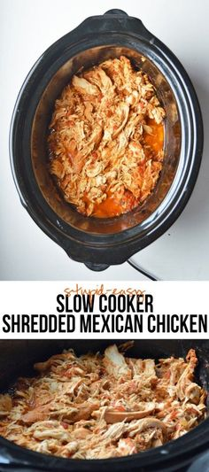 You need just three ingredients to make this easy slow cooker shredded Mexican chicken. The result is juicy, flavorful chicken.