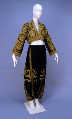 From Konya province, probably from Balkan emigrants. Late-Ottoman era, end of century. Two pieces: 'şalvar' (wide drawstring trousers) and 'cepken' (jacket). Black velvet embroidered with couched gold dival work with floral medallion. Bride Costume, Folk Costume, Historical Costume, Historical Clothing, Vintage Outfits, Vintage Fashion, Ottoman Empire, Mode Vintage, Bridal Outfits