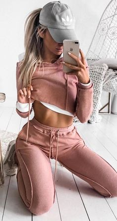 #winter #outfits pink tracksuit. Pic by @goddesskleopatraclothing.
