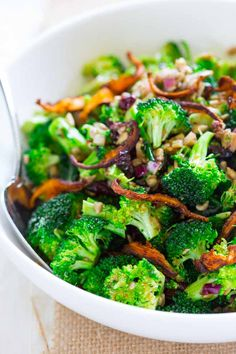 Vegan and Gluten-free Broccoli Salad with Sweet Miso Dressing on Healthy Seasonal Recipes with cranberries, sunflower seeds and roasted shiitakes