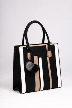 Μαύρη τσάντα ώμου – χειρός, με κάθετες ρίγες σε άσπρο και μπρονζέ.ΚΩΔ.: 117.013 ΤΗΛ: 2510241726 Bags, Fashion, Handbags, Moda, Fashion Styles, Fashion Illustrations, Bag, Totes, Hand Bags