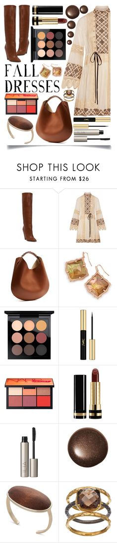 """""""Fall Dresses"""" by ittie-kittie on Polyvore featuring Yves Saint Laurent, Tory Burch, Givenchy, Kendra Scott, MAC Cosmetics, Gucci, Ilia, Olive & Ivy, Fall and fallfashion"""