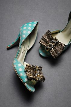love thse jewelled ribboned pumps! turquoise polka dots? Yes please!