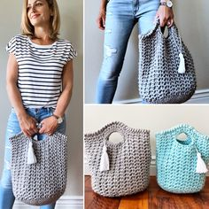 Quick and Easy Crochet Bag Pattern made with super bulky yarn Crochet Tote, Crochet Handbags, Crochet Hooks, Crochet Baby, Knit Crochet, Lion Brand Hometown Usa, Bag Pattern Free, T Shirt Yarn, Easy Crochet Patterns
