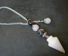 Click now to purchase! Black and White Multi Stone Pendulum Crystal Pendulum White Jade Tourmalinated Quartz Silver Plated Healing Spiritual Tool Divining Dowsing by MariposaStoneWorks on Etsy, $20