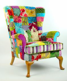 Bespoke patchwork wing back armchair in designer velvets