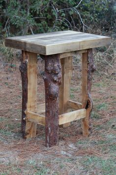 Wood Bar Table Rustic Poplar and Maple Wood by LazerEnterprises, $425.00
