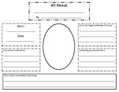 This is a great graphic organizer for a biography research project. My class researched, filled this out, then presented dressed as the American th. Research Projects, Book Projects, Student Teaching, Teaching Reading, Third Grade Writing, Second Grade, Best Teacher, Teacher Stuff, Interactive Read Aloud