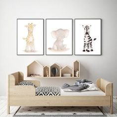 I love this nursery / Kids room in a simple Nordic and Scandinavian style with suttle colors and wood | Nordic Nursery | Nursery Decor | Nursery Wall Art | Nursery Posters | Animal Posters | Baby Nursery | Toddler Wall Art | (Affiliatelink - I will earn a small commission if you click on this link - no additional cost for you)