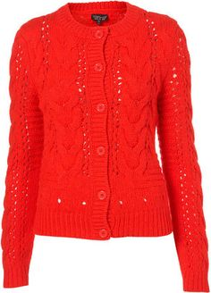 topshop Knitted Short Cable Cardigan