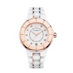 75cee671a03 Relógio feminino de cerâmica branca e aro rosé http   m.hstern.