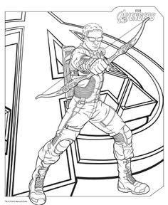 Download #Avengers coloring pages here! #Hawkeye